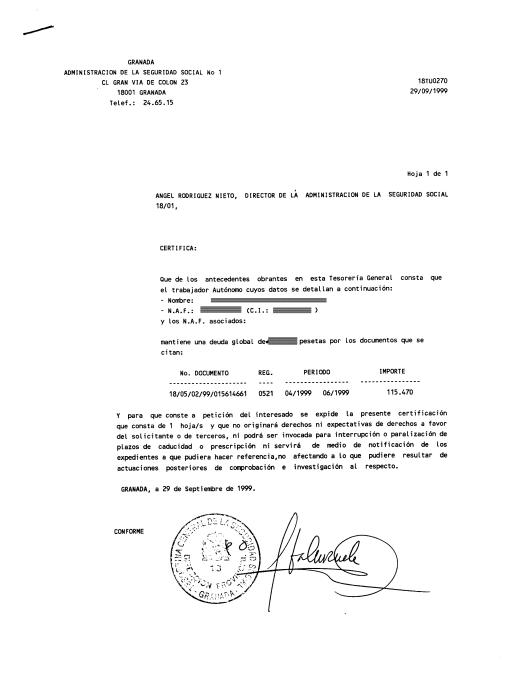 Aqui podemos ver un ejemplo del Certificado de Cotización: